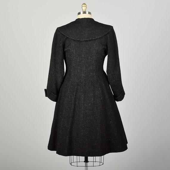 Large 1950s Coat Grey Princess Fit & Flare Wool S… - image 2