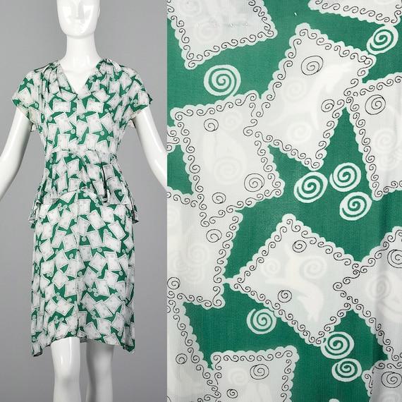 XS 1940s Novelty Print Dress 40s Rayon Dress Peplu