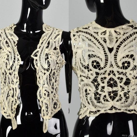 XS Antique Lace Vest Vintage Lace Vest Boho Vest A