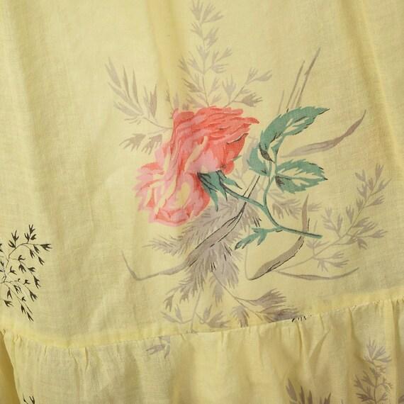 XXS 1930s Dress Sheer Yellow Day Dress Large Rose… - image 10