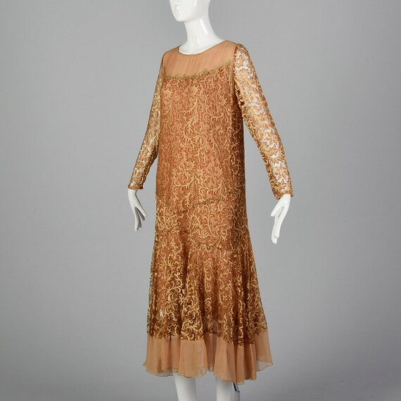 Small 1930s Dress Golden Brown Lace Dress Chiffon Hem Formal Evening Wear Art Deco Cocktail Party 30s Vintage