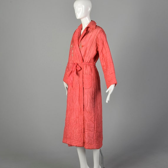 Medium 1930s Pink Robe Quilted Asian Inspired Sil… - image 2