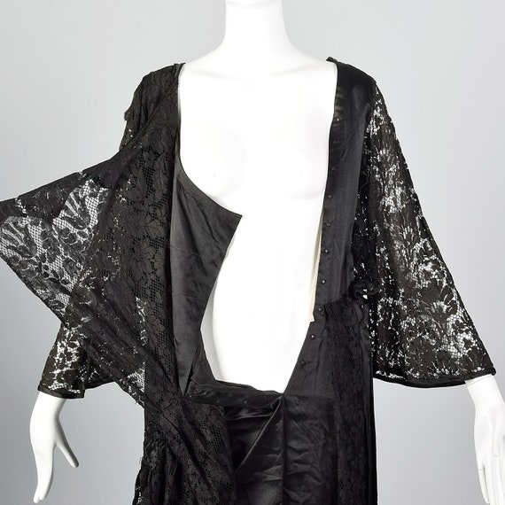 1920s Black Lace Dress Hip Sash and Bell Sleeves … - image 6