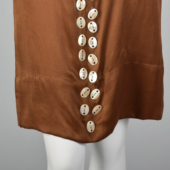 XXS 1920s Brown Silk Dress Mother of Pearl Button… - image 7