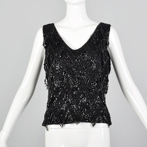Medium 1960s Top Black Beaded Fringe Blouse Wool S