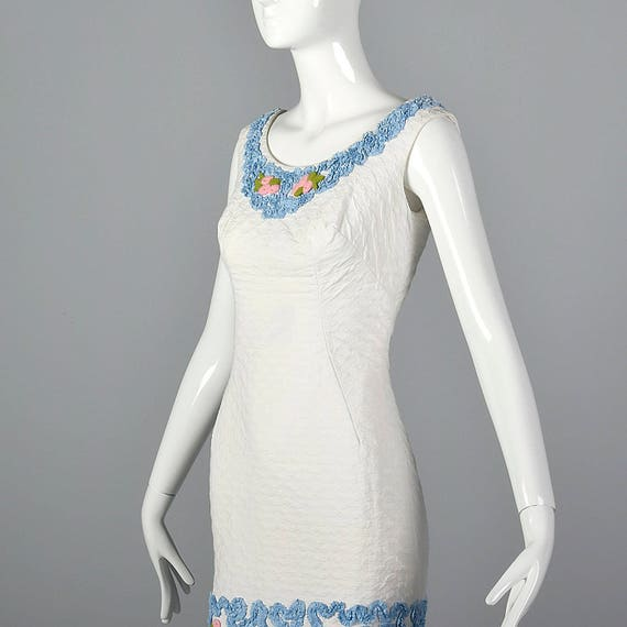 Party Textured 50s Dress Soutache Cotton White Sleeveless 1950s Dress XS Vintage Outfit Summer Wiggle Trim Spring 4Fwqpxc7
