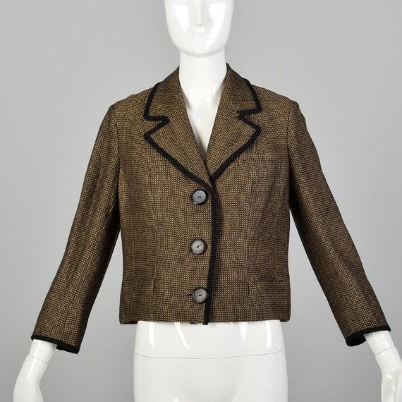 Large 1960s Brown Jacket Boxy Tweed Black Trim 3/4