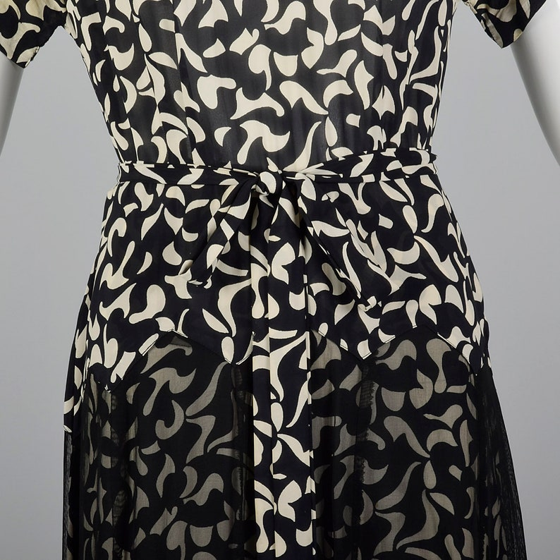 Large 1940s Dress Abstract Print Dress Sheer Overlay Black White Short Sleeves Geometric Day Wear 40s Vintage