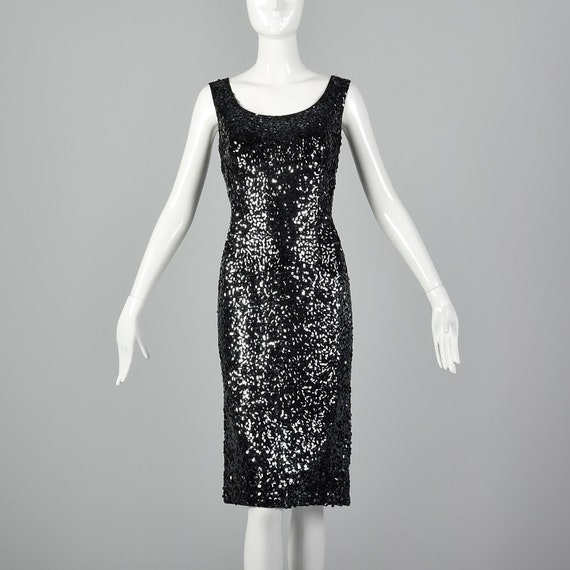Medium 1960s  Dress Black Sequin Knit Cocktail Dre