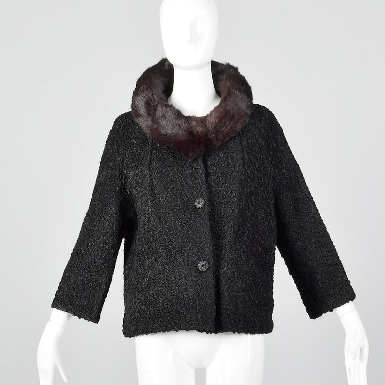 Medium 1960s Faux Persian Lamb Jacket Rabbit Fur Collar Spring Fall Outerwear Lightweight Jacket 60s Vintage