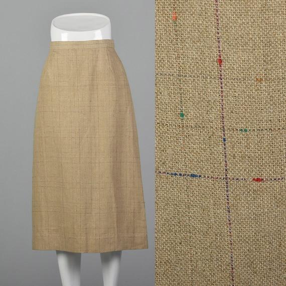 Small 1970s Beige Skirt Linen Plaid  Plaid A Line
