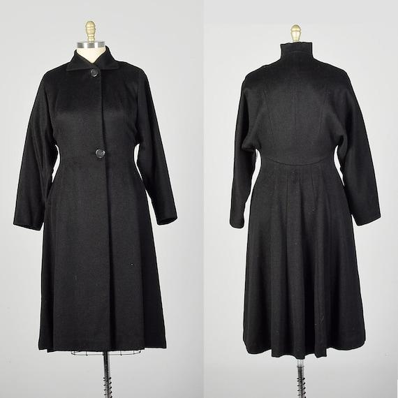 Large 1950s Princess Coat Black Batwing Wool Dolma