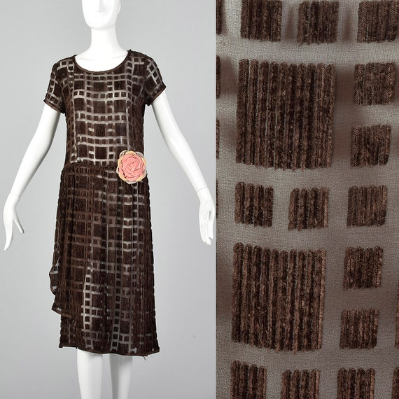 XS 1920s Brown Silk Devore Dress 20s Burnout Velve