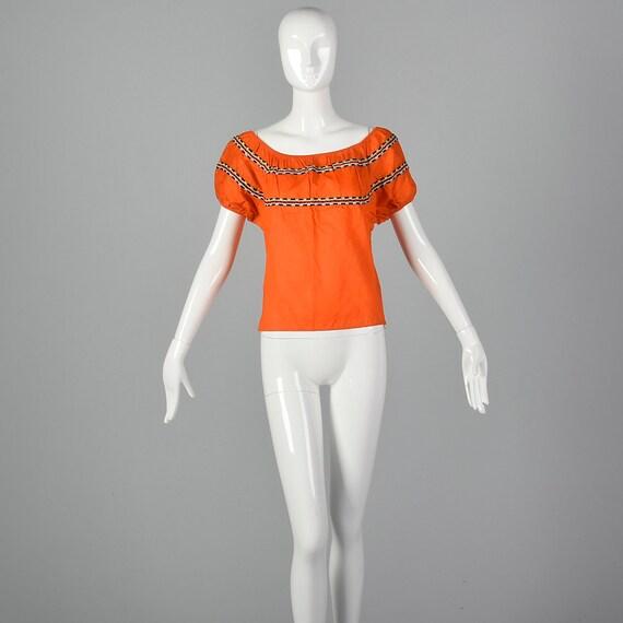 Medium 1960s Peasant Blouse Rockabilly Bright Ora… - image 4