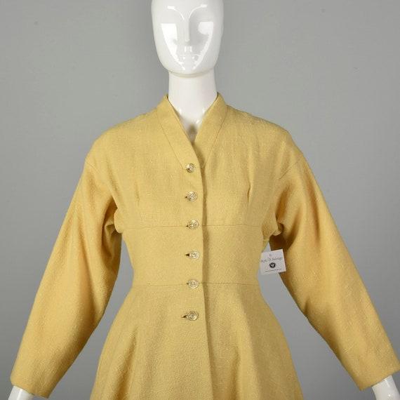 Small 1950s Princess Coat Yellow Wool Spring Rock… - image 5