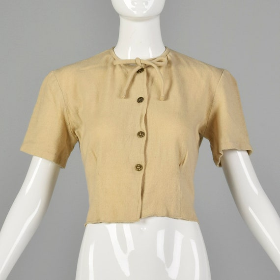 Medium Lampl 1930s Short Sleeve Cream Cardigan Swe