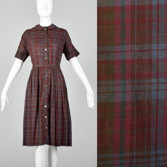 XL 1950s Plaid Day Dress Casual Burgundy Cotton Sh