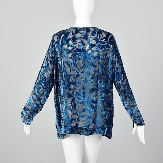 XL 1920s Silk Devore Blouse 20s Burnout Silk Larg… - image 4