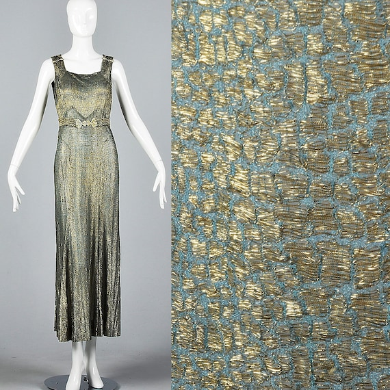 XS 1930s Dress Gold Lamé Evening Gown Old Hollywoo