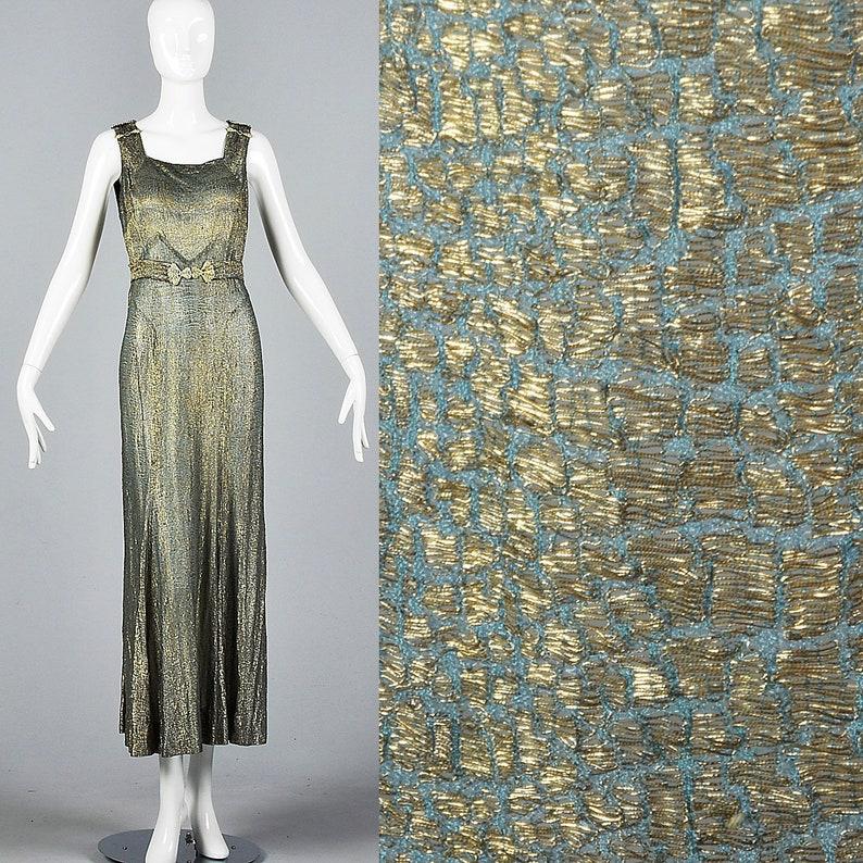 b1595079f4f Métal rare des années 1930 Lamé robe de soirée élégante robe