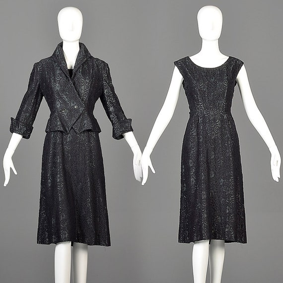 50s Dress 50s Set Matching Set Black Dress Set Bla