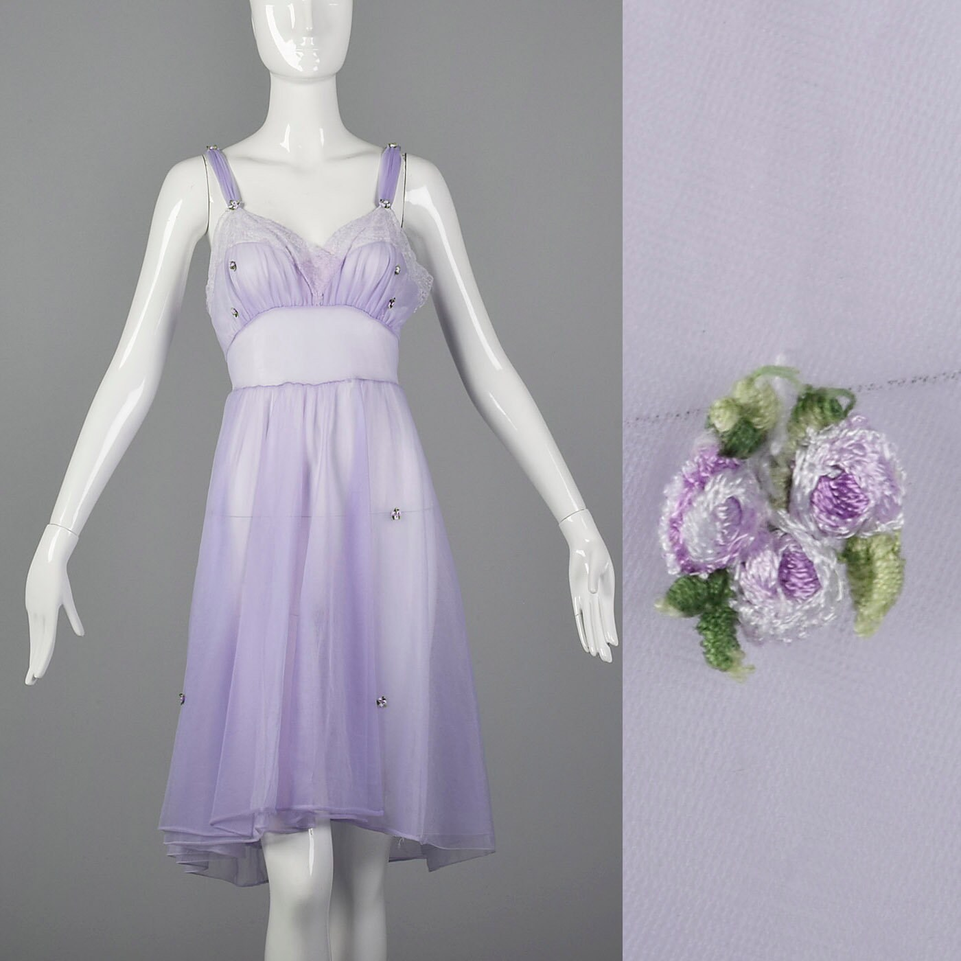 04e8a6f553 Small 1950s Nightgown Sheer Purple Nightgown Floral Appliques