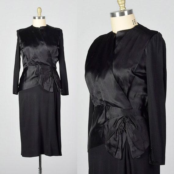 Large 1940s Dress Black Cocktail Dress Satin Bodic