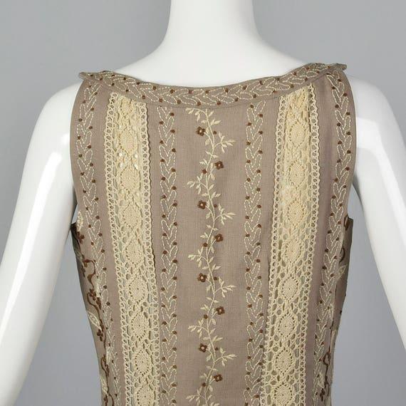 XS 1960s Moygashel Irish Linen Dress Sleeveless P… - image 5
