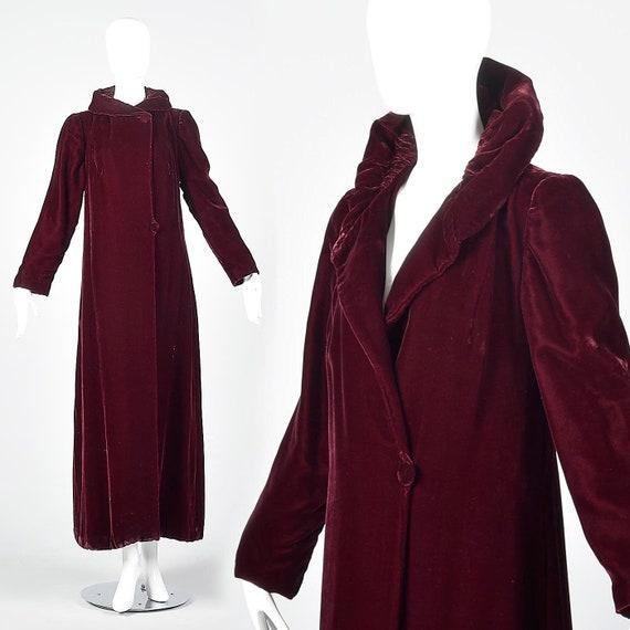 XS 1940s Coat Burgundy Velvet Opera Maxi  Coat Lon