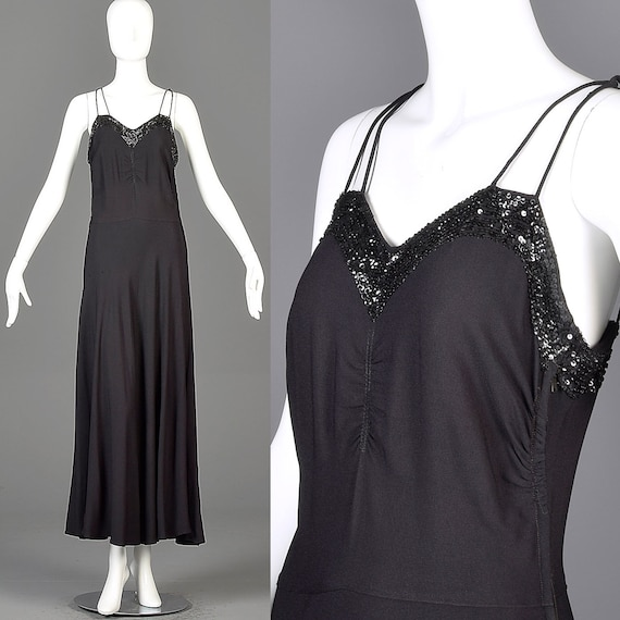 30s Evening Gown 30s Formal Dress Black Gown Sleev