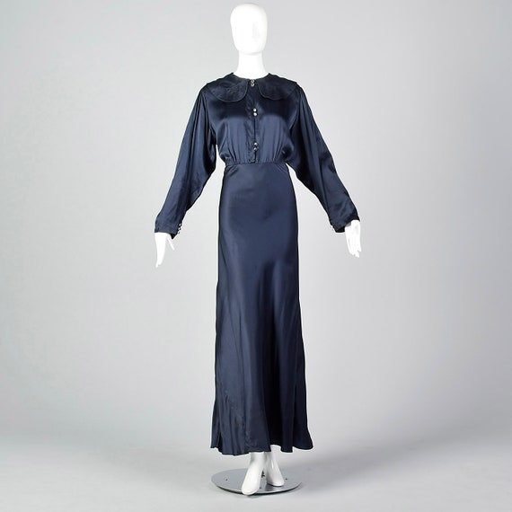 XXL 1930s Dress Navy Silk Dress Long Sleeves Bias