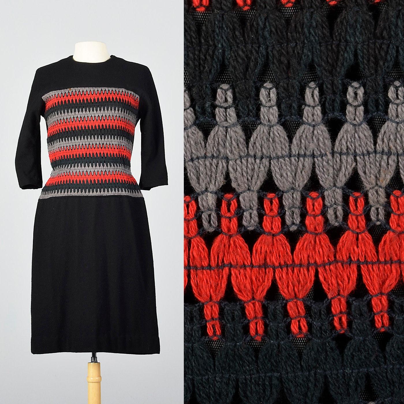 1950s Hats: Pillbox, Fascinator, Wedding, Sun Hats Medium 1950S Dress Black Wool Dolman 34 Sleeves Red Gray Striped Autumn Vintage 50S $0.00 AT vintagedancer.com