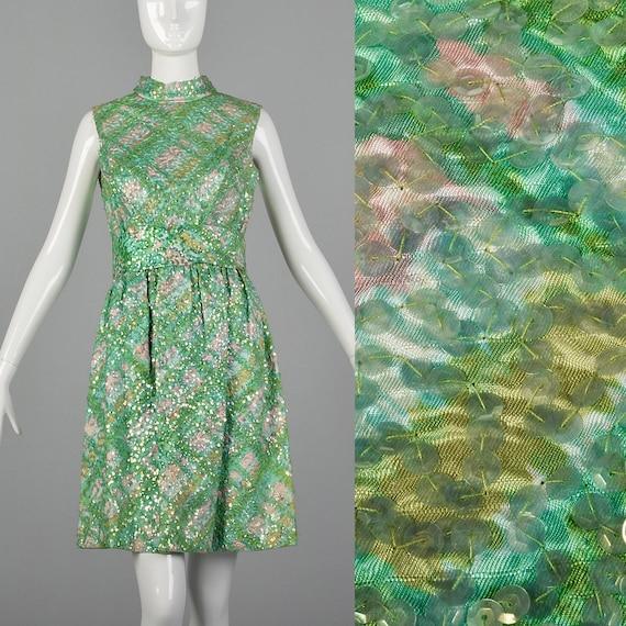 XS 1960s Sequin Watercolor Dress Vintage Cocktail