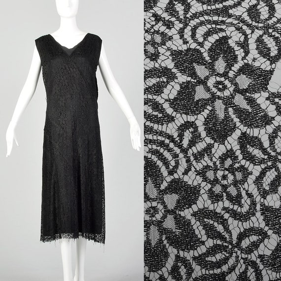 Large 1930s Black Lace Day Dress Floral Pattern Sl
