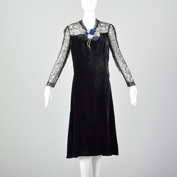 Medium 1930s Black Dress Velvet Long Sleeve Sheer