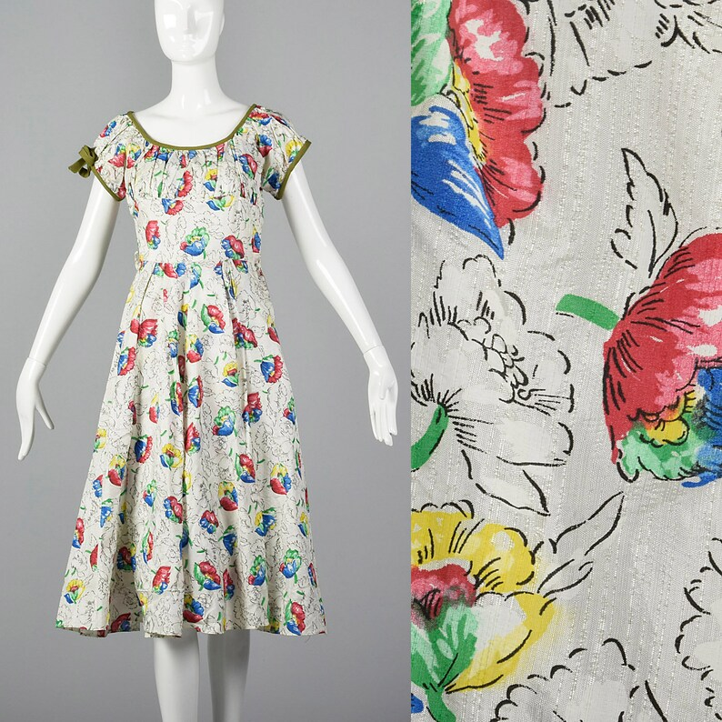 152a987bd8e Small 1950s Dress White Summer Dress Colorful Floral Print