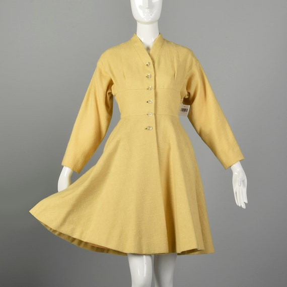 Small 1950s Princess Coat Yellow Wool Spring Rock… - image 2