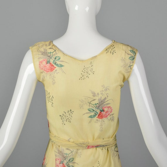 XXS 1930s Dress Sheer Yellow Day Dress Large Rose… - image 6