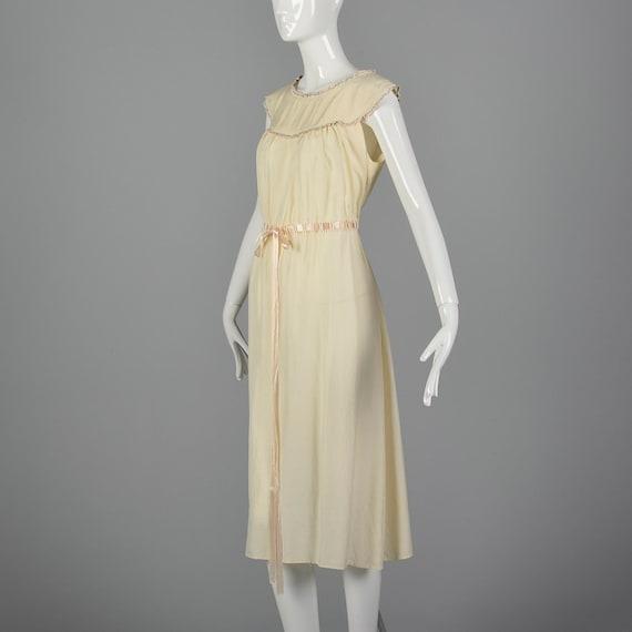 Ribbon Lounge Art 30s Silk Sleepwear Boudoir Silk Nightgown Drawstring Nightgown Vintage Waist 1930s Deco Cream tqO4nat8w