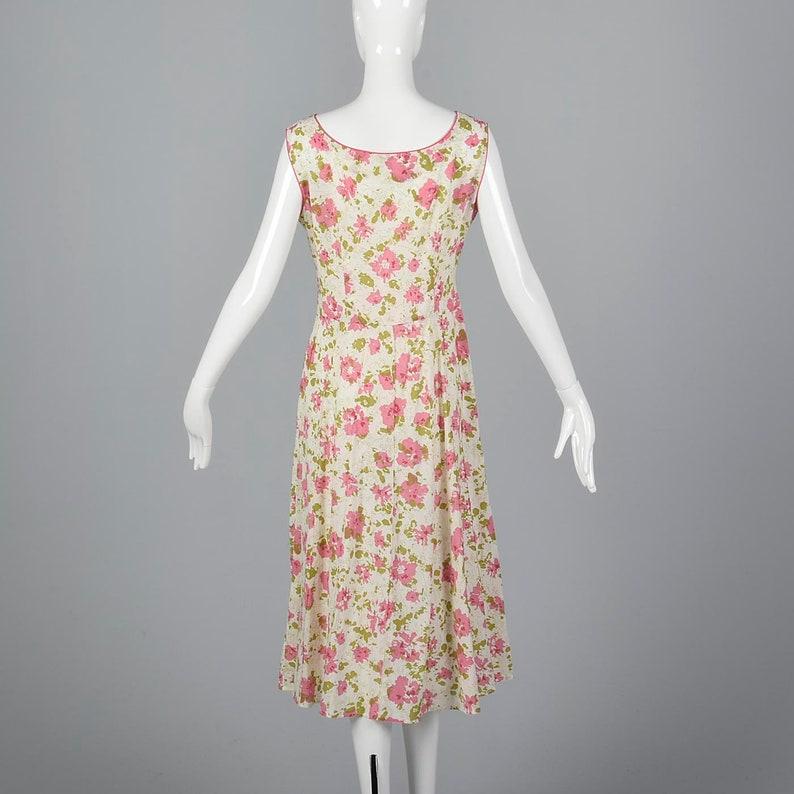 e6e639d92be 1930s Simple Cotton Dress Loose Summer Dress Flowy Sleeveless