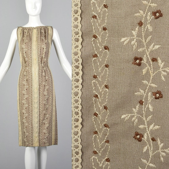 XS 1960s Moygashel Irish Linen Dress Sleeveless Pe