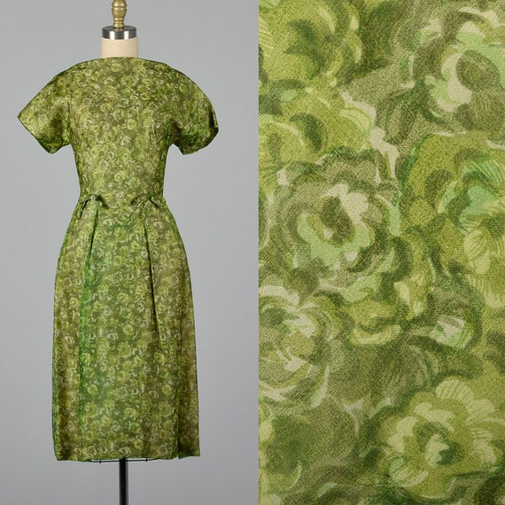 Small 1950s Green Dress Floral Day Dress Boat Neck