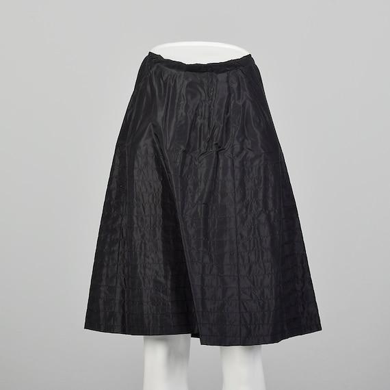 XXS 1950s Black Silk Half Slip Vintage Lingerie Ha
