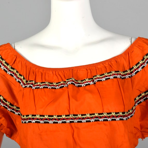 Medium 1960s Peasant Blouse Rockabilly Bright Ora… - image 5