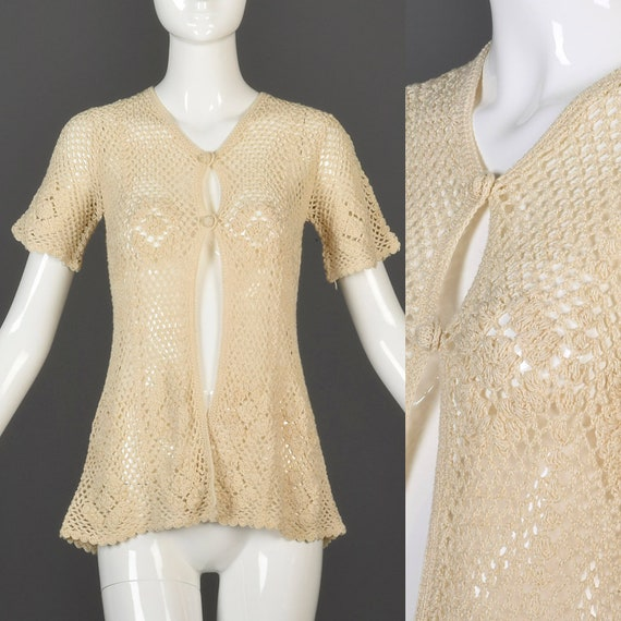Small 1960s Crochet Top Short Sleeve Crochet Cardi