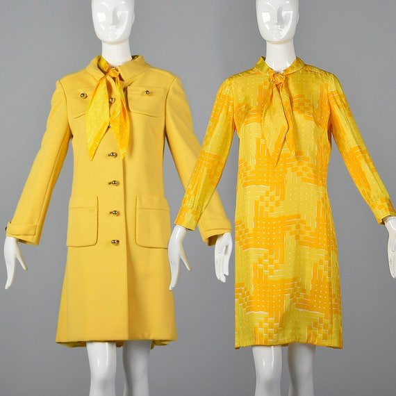 Teller Spring Coat Bonwit Coat 1960s Sandler Dress XS Shift Long Sleeve Outerwear Set and 60s Vintage Silk Yellow Silk Separates Dress Pat gaZzgwx