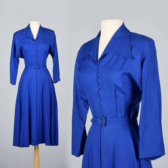 XS 1950s Princess Coat Dress Jacket Royal Blue Lig