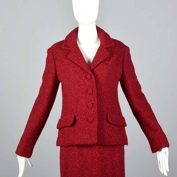 Small Skirt Wool 1960s Vintage Matching Separates Wool Set Sleeve Jacket Boucle Suit Red Suit Long 60s Skirt Pencil rwrqfAZ