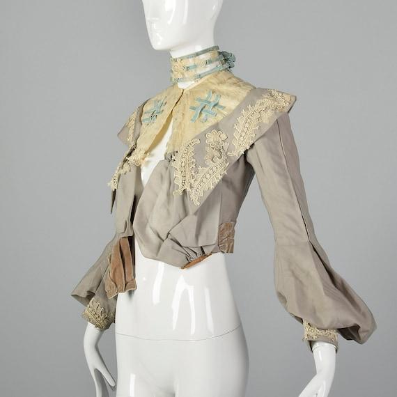 XXS 1890s Wool Challis Bodice Victorian Bodice wi… - image 2