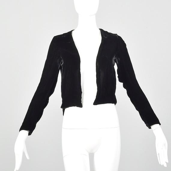 XS 1930s Black Jacket Velvet Open Front Jacket Han